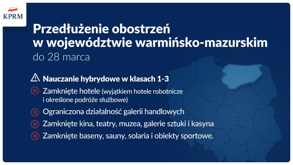 3.Przedłużenie obostrzeń w woj. warmińsko-mazurskim