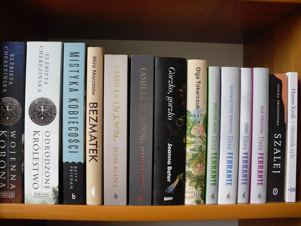 Na brązowej półce ustawiono 14 książek grzbietami do przodu.