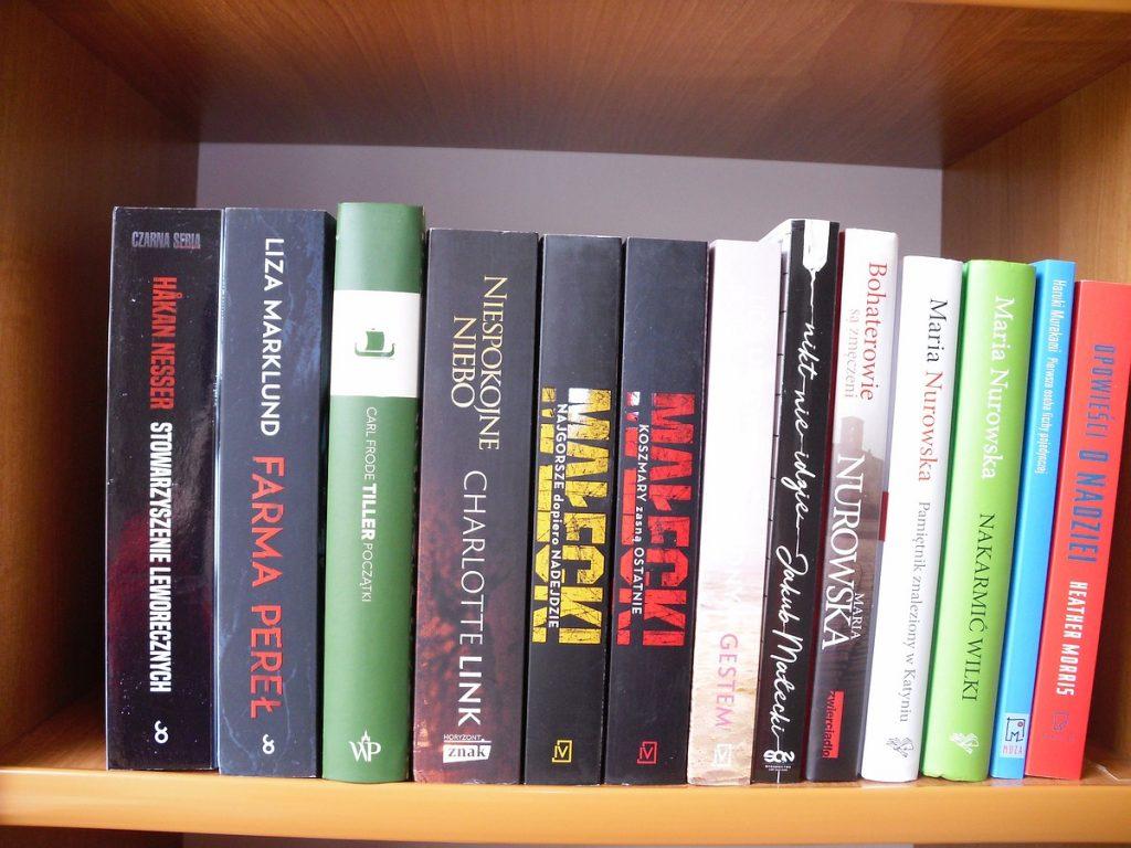 Na brązowej półce ustawiono 13 książek grzbietami do przodu.