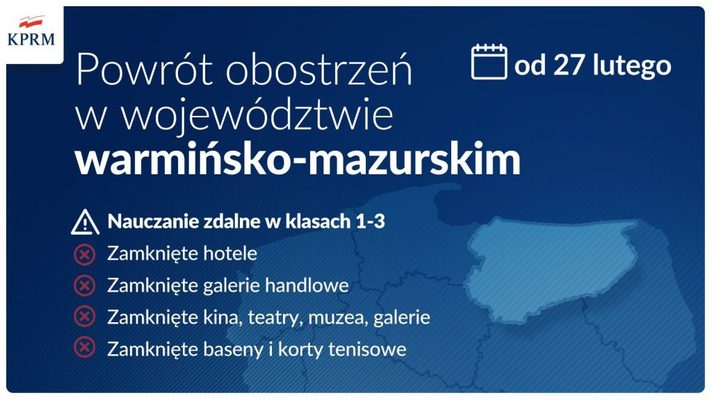 Powrót obostrzen w województwie warmińsko-mazurskim