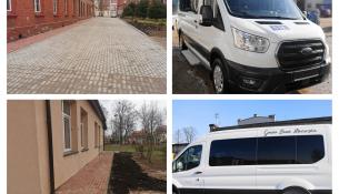 mikrobus do przewozu osób niepełnosprawnych oraz chodniki przy budynkach Zespołu Szkół Zawodowych w Gołdapi