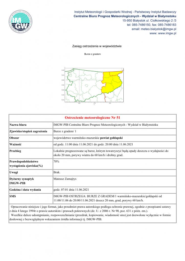 Ostrzeżenie meteorologiczne Nr 51 Nazwa biura IMGW-PIB Centralne Biuro Prognoz Meteorologicznych - Wydział w Białymstoku Zjawisko/stopień zagrożenia Burze z gradem/ 1 Obszar województwo warmińsko-mazurskie powiat gołdapski Ważność od godz. 11:00 dnia 11.06.2021 do godz. 20:00 dnia 11.06.2021 Przebieg Lokalnie prognozowane są burze, którym towarzyszyć będą opady deszczu o wydajności do około 20 mm, porywy wiatru do 60 km/h i drobny grad. Prawdopodobieństwo wystąpienia zjawiska(%) 70% Uwagi Brak. Dyżurny synoptyk IMGW-PIB Mateusz Zamajtys Godzina i data wydania godz. 07:01 dnia 11.06.2021 SMS IMGW-PIB OSTRZEGA: BURZE Z GRADEM/1 warmińsko-mazurskie/gołdapski od 11:00/11.06 do 20:00/11.06.2021 deszcz 20 mm, grad, porywy 60 km/h. Opracowanie niniejsze i jego format, jako przedmiot prawa autorskiego podlega ochronie prawnej, zgodnie z przepisami ustawy z dnia 4 lutego 1994r o prawie autorskim i prawach pokrewnych (dz. U. z 2006 r. Nr 90, poz. 631 z późn. zm.). Wszelkie dalsze udostępnianie, rozpowszechnianie (przedruk, kopiowanie, wiadomość sms) jest dozwolone wyłącznie w formie dosłownej z bezwzględnym wskazaniem źródła informacji tj. IMGW-PIB.