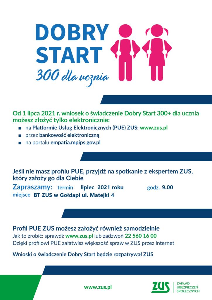 plakat przedstawiający świadczenie DOBRY START 300 dla ucznia