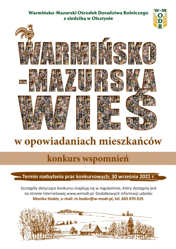 """plakat konkursu """"Warmińsko-mazurska wieś w opowiadaniach mieszkańców"""""""