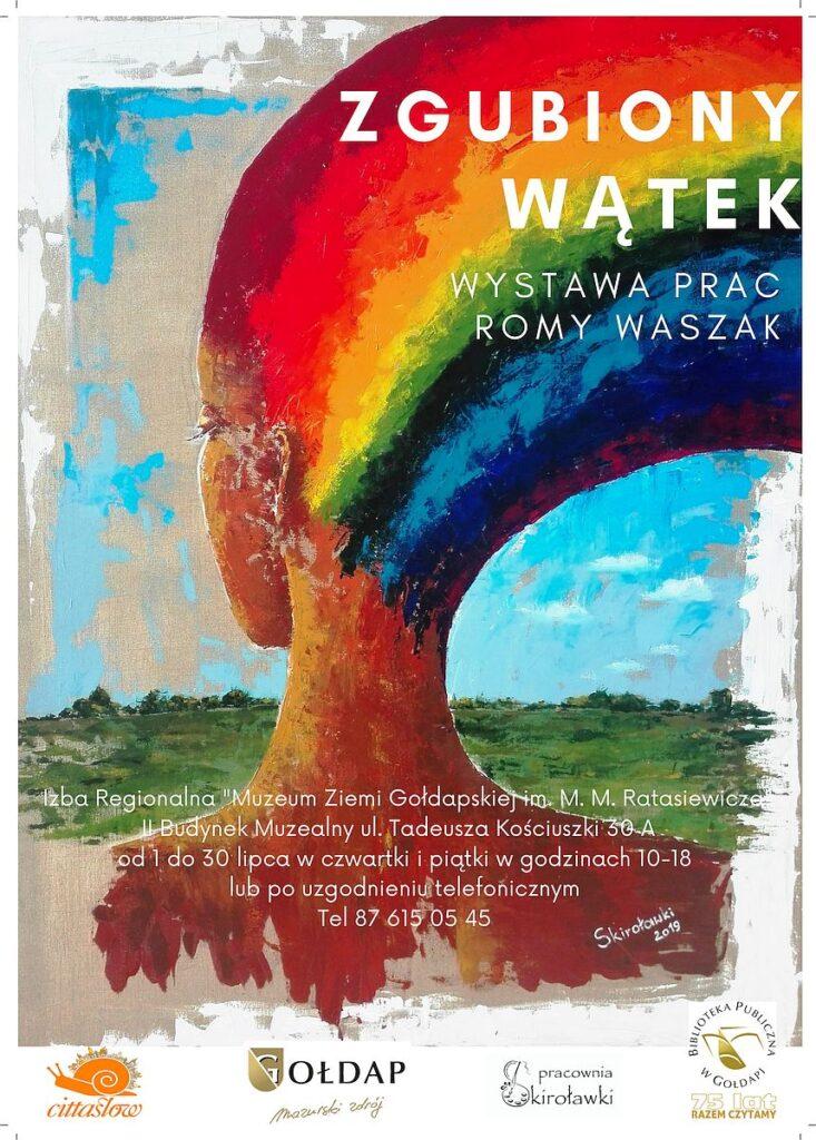 Plakat zapraszający na wystawę prac Romy Waszak, kobieta z tęczowymi włosami.