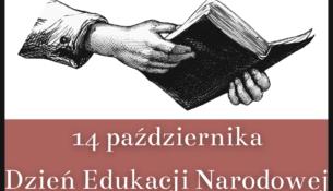Biało czerwona grafika, ręce trzymają książkę i hasło 14 października Dzień Edukacji Narodowej